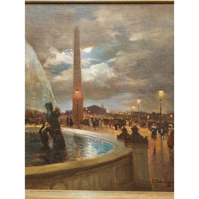 """Blue """"Evening at La Place De La Concorde, Paris"""" Painting by Paul Balmigere (1882-1953) For Sale - Image 8 of 13"""