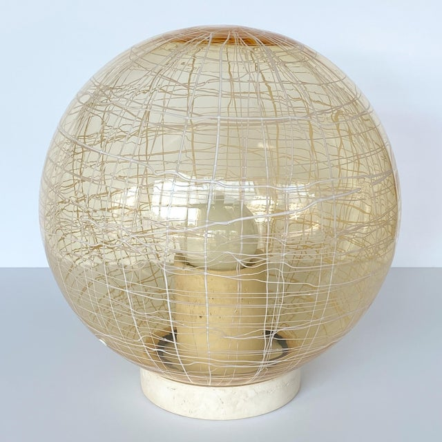 Italian La Murrina Pale Yellow Globe and Travertine Table / Floor Lamp For Sale - Image 3 of 13