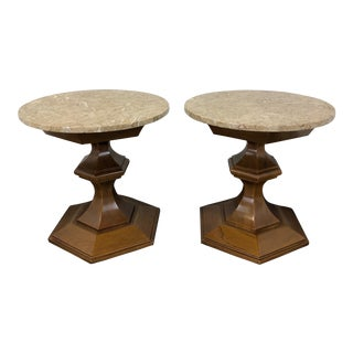 Vintage Mid-Century Round Marble Top End Side Tables - Pair For Sale