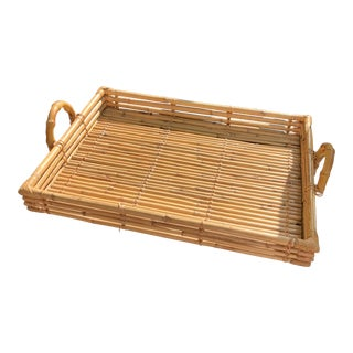 Vintage Natural Bamboo and Rattan Tray For Sale