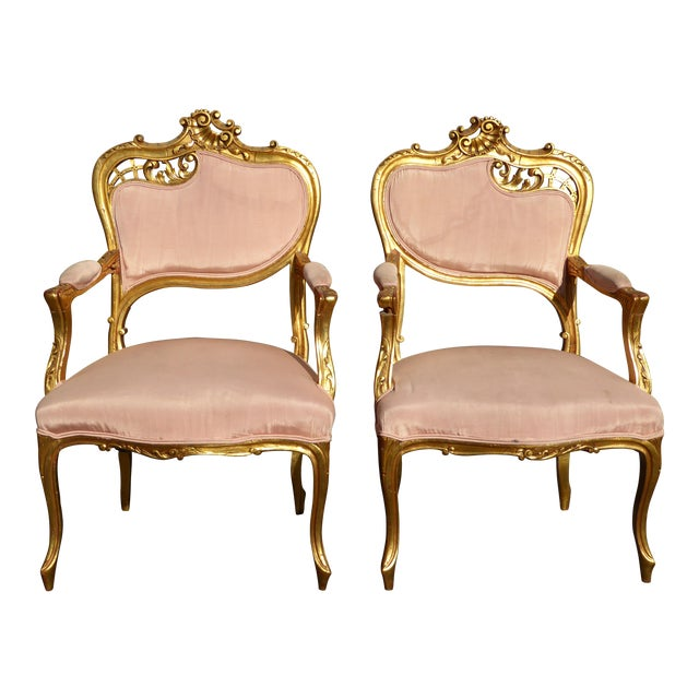 Vintage French Rococo/Louis XV Style Giltwood Accent Chairs- A Pair - Image 1 of 11