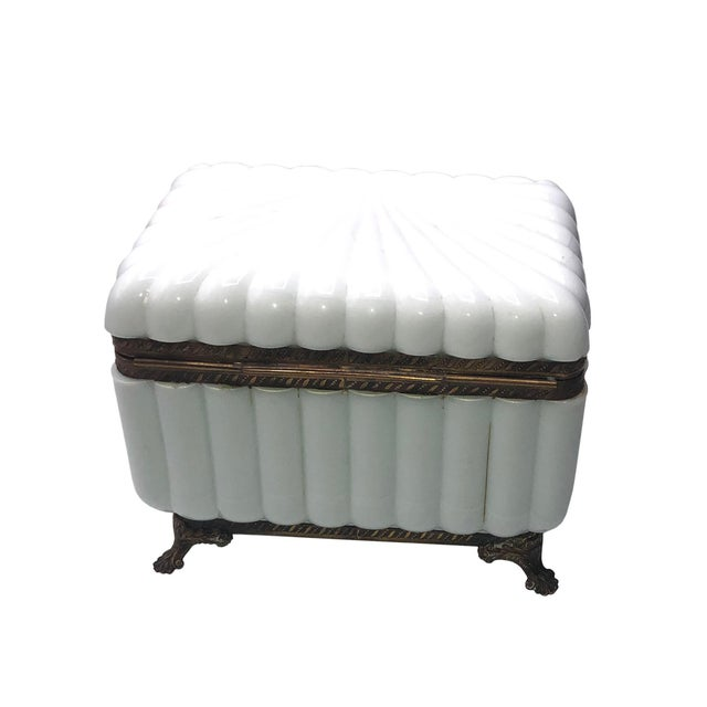 Glass 1950s French White Opaline Glass Box For Sale - Image 7 of 11