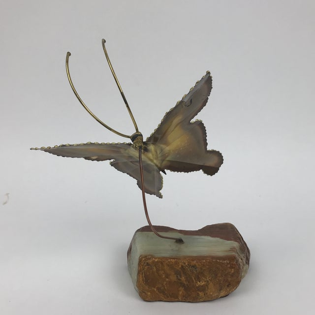 1950s Mid-Century Modern Kinetic Brass Butterfly Sculpture For Sale - Image 4 of 6