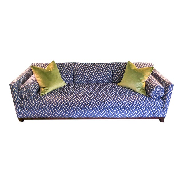 "97"" Scalamandre Cut Velvet Down Filled Mitchell Gold Sofa For Sale"