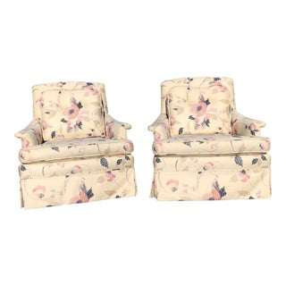 1980s Vintage Floral Lounge Chairs - a Pair For Sale