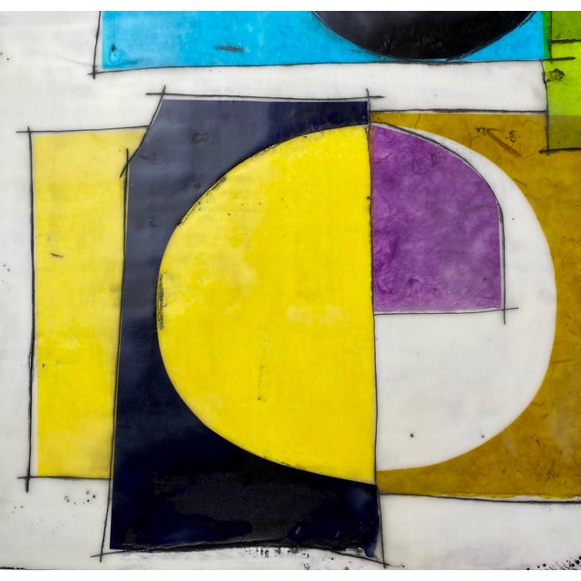 "Mid-Century Modern Gina Cochran Original Encaustic Collage Painting ""Nostalgia for the Present"" For Sale - Image 3 of 8"