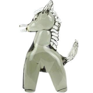 Salviati Murano Sommerso Gray Italian Art Glass Mid Century Pony Donkey Figure Sculpture For Sale