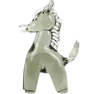 Salviati Murano Sommerso Gray Italian Art Glass Pony Donkey Figure Sculpture For Sale