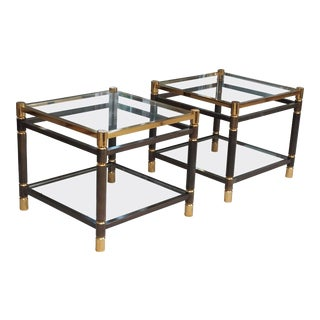1970s Steel & Gold Plate Side Tables