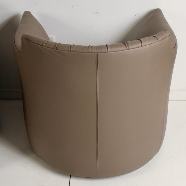 Taupe John Saladino for Baker Leather Lounge Chairs For Sale - Image 8 of 12