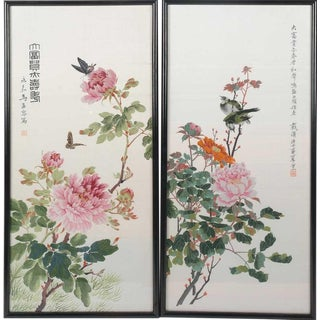 Chinese Republic Period Silk Embroideries - a Pair For Sale