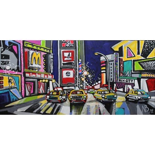 """""""Times Square"""" Acrylic Painting by Natalia Bessonova Bold Contemporary 24x12 Patterns Nyc Taxi For Sale"""