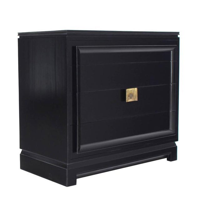 Black Vintage Mid-Century Black Lacquered 4-Drawer Bachelor Chest For Sale - Image 8 of 10
