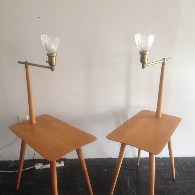 Mid-Century Maple Side Table Floor Lamps - A Pair - Image 4 of 11