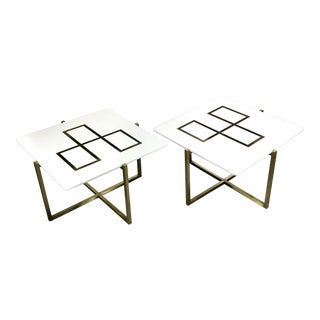 Harvey Probber/Paul McCobb Style Brass & Milk Glass Side Tables - a Pair For Sale