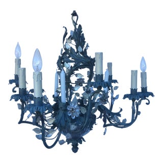 Crystal & Painted Tole Bagues Style Chandelier For Sale