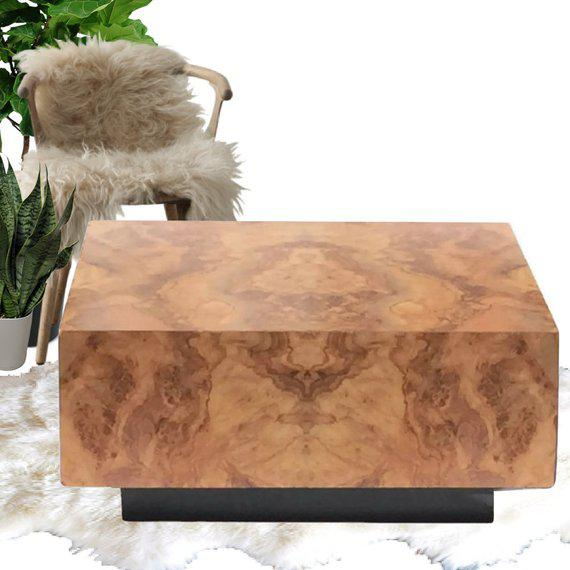 "Vintage Burl Wood Coffee Table Floating Cube Pedestal Cocktail Table - 36"" For Sale - Image 9 of 13"