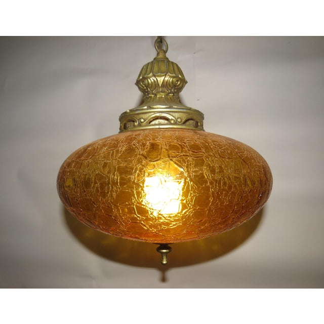 Vintage Italian Art Glass Rewired Retro Boho Gold Crakle Hanging Light For Sale - Image 6 of 9