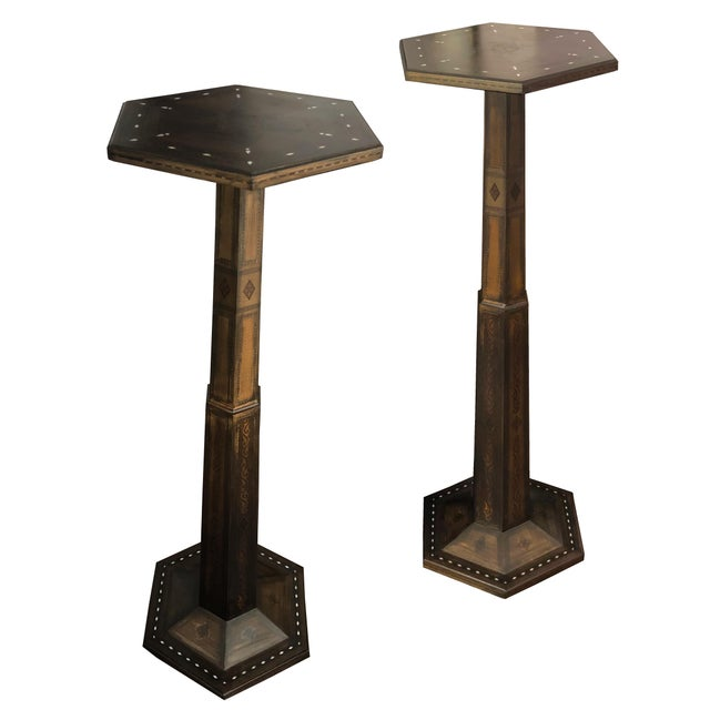 1980s Gothic Parquetry Candle Stands - a Pair For Sale - Image 9 of 9