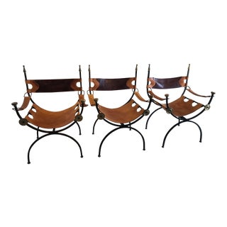 Wrought Iron Brass & Leather Savonarola X Form Chairs - Set of 3 For Sale