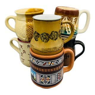1970s Mismatched Boho Chic Ceramic Cups - Set of 6 For Sale