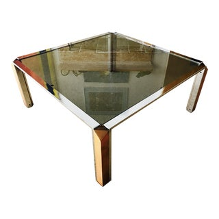 Mid Century Coffee Table Chrome and Smoked Glass