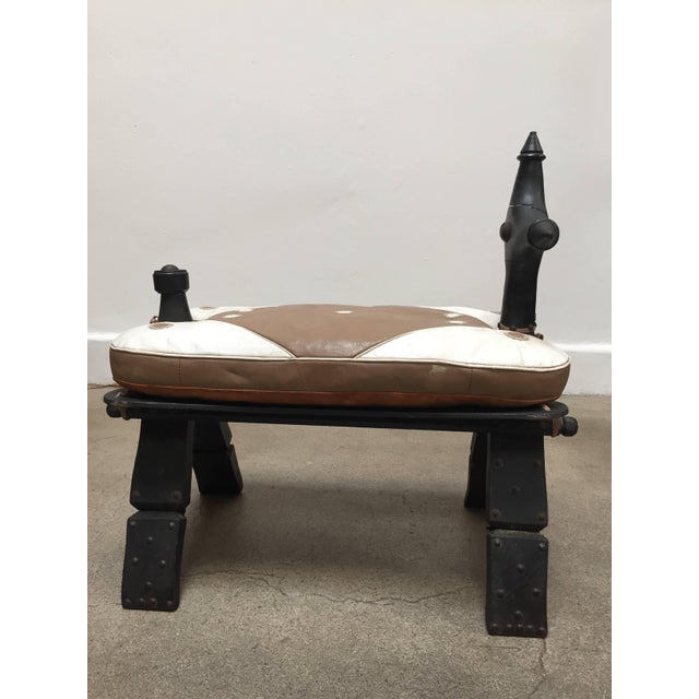 Vintage Moroccan Tuareg Camel Wooden Saddle Stool With Leather Cushion For Sale - Image 11 of 13