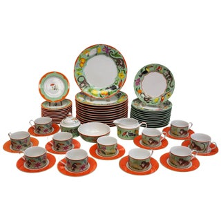 Lynn Chase Fine China Porcelain 7-Piece Dinner Service for 12 in Monkey Business For Sale