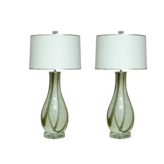 Pair of Italian Hand Blown Lamps With Taupe and White Stripes For Sale