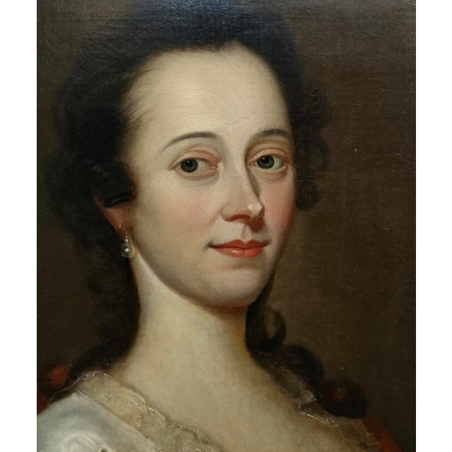 18th Century Portrait of an English Aristocratic Woman -Oil Painting For Sale - Image 4 of 10
