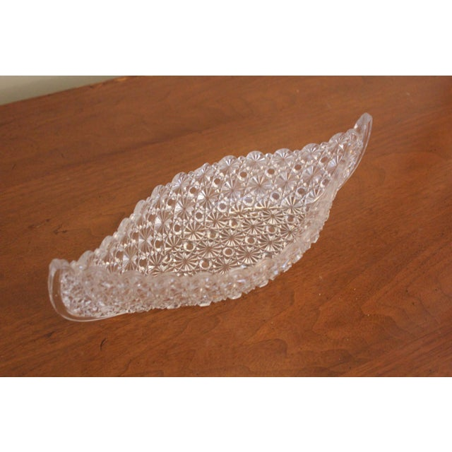 Vintage Cut-Glass Canoe Decorative Bowl For Sale - Image 4 of 4