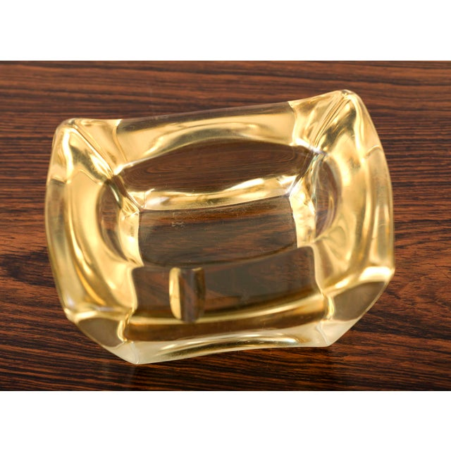 Mid-Century Modern Yellow Crystal Ashtray by Daum, France For Sale - Image 3 of 4