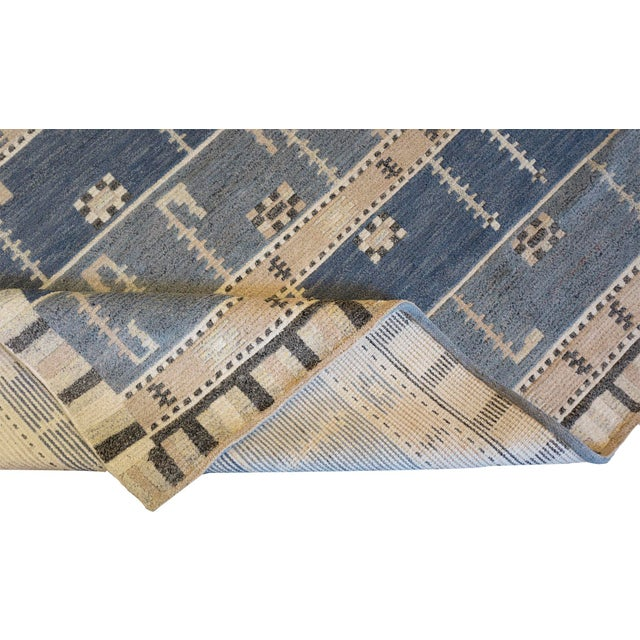 MANSOUR Hand-Woven Swedish Style Wool Rug For Sale - Image 4 of 5
