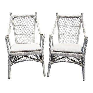 Pair Vintage French Country White Wicker Accent Chairs For Sale