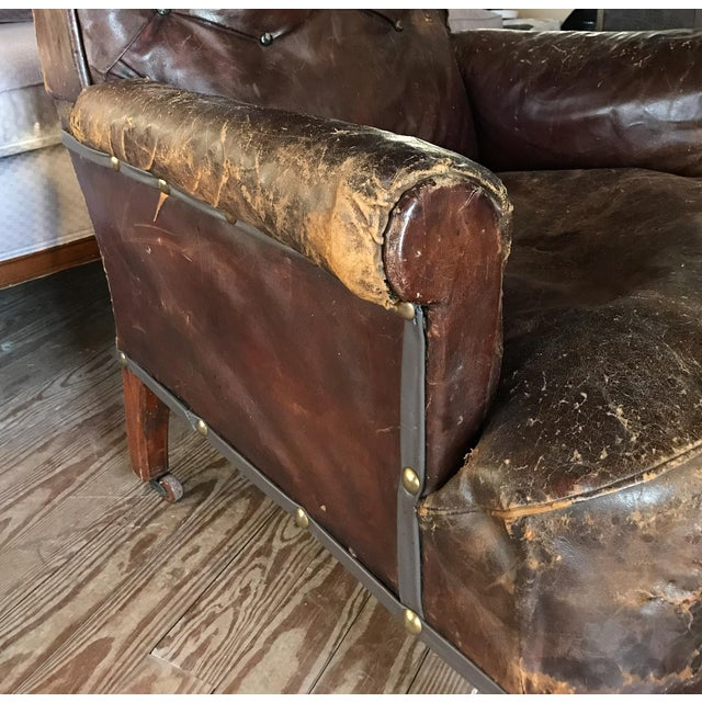 Old, Distressed Leather Club Chair For Sale - Image 9 of 10