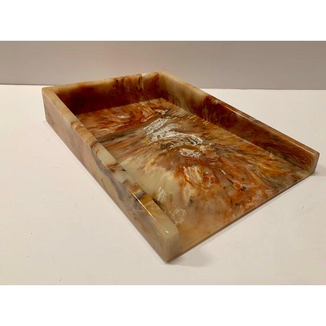 Mid-Century Modern Faux Onyx Resin Desk Inbox Paper Holder For Sale - Image 3 of 13