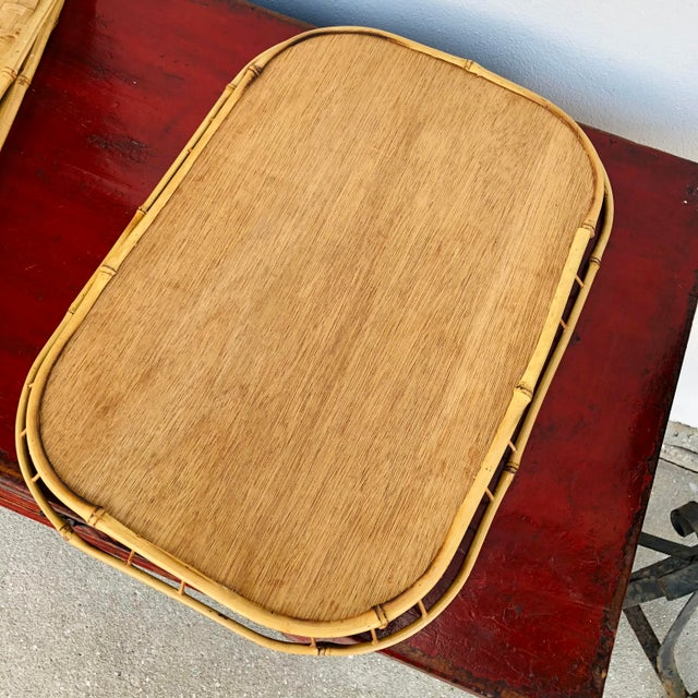 Wood Vintage Mid Century Rattan Serving Trays - Set of 3 For Sale - Image 7 of 12