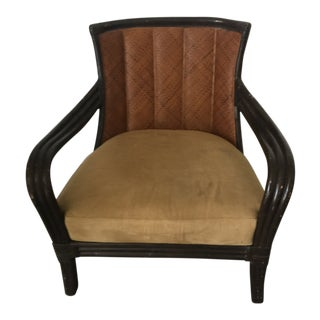 Mid Century Rattan Accent Chair For Sale