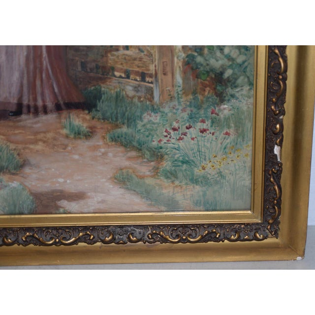 Early 20th C. Watercolor Portrait of an Elegant Young Woman at Gardens Gate c.1910 Absolutely beautiful watercolor by A.D....
