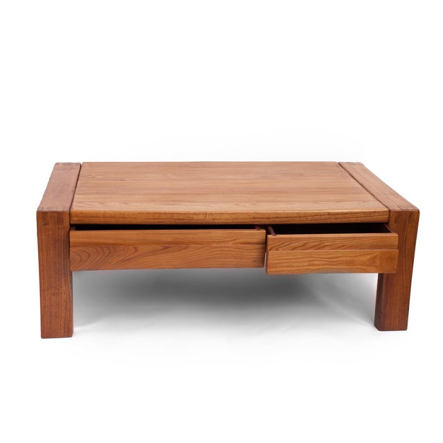 1960s French 1960s Pierre Chapo Crafted Oak Coffee Table For Sale - Image 5 of 7