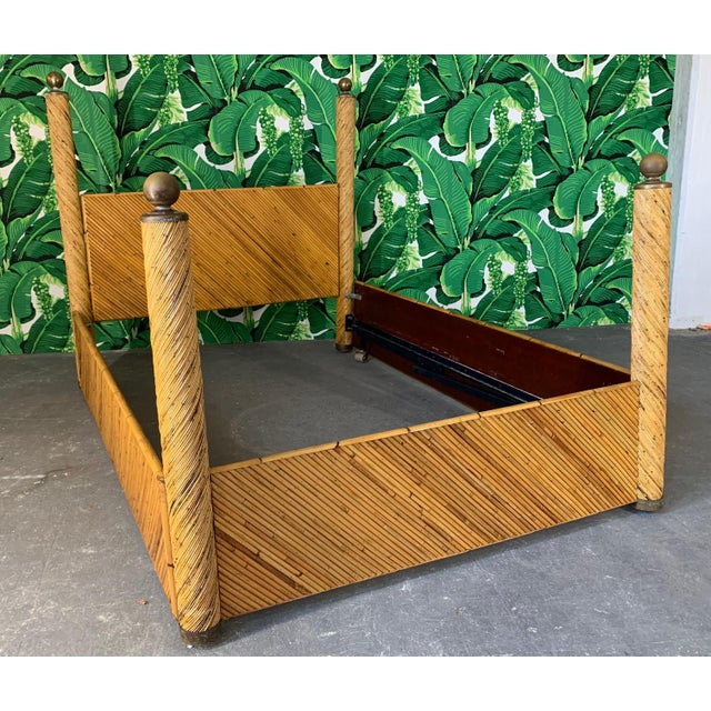 Metal Split Pencil Reed Rattan Queen Size Poster Bed For Sale - Image 7 of 8