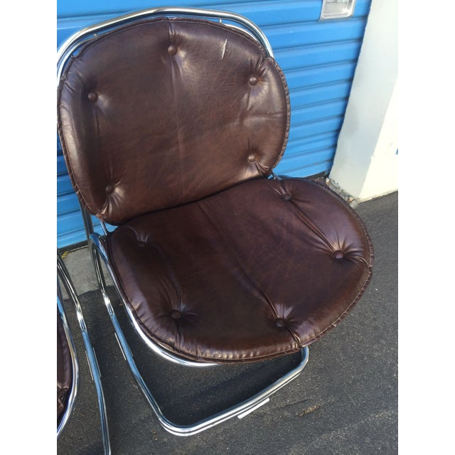 Mid-Century Brown and Chrome Office Chairs - 4 - Image 4 of 5