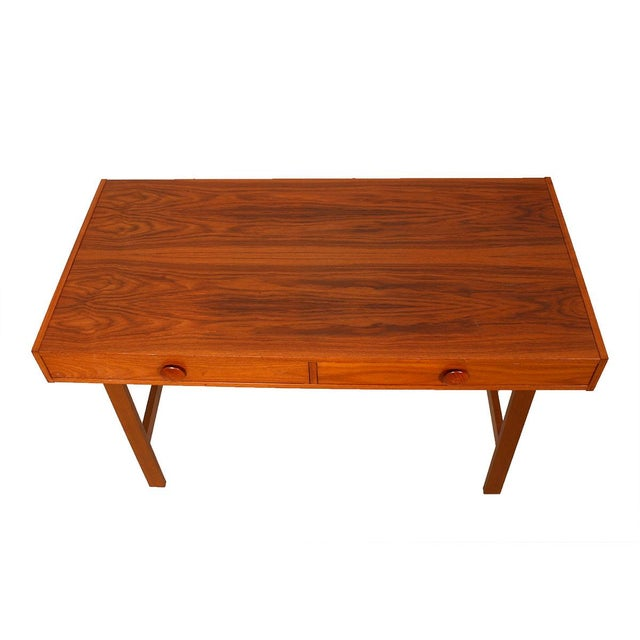 Danish Modern Compact Teak Two Drawer Desk - Image 2 of 6
