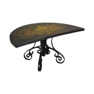 """Half Round/Demilune Wood Console Table, Cast Metal Scrolled Legs, """"Cafagiolo"""" Tuscany For Sale"""