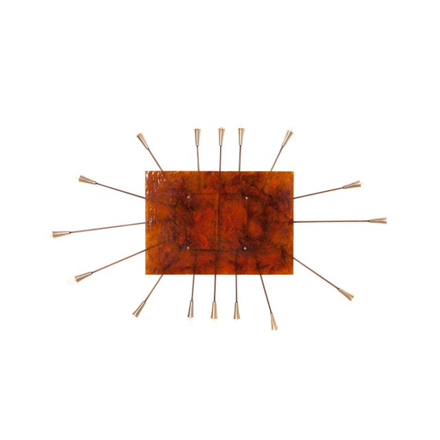 Wall Mounted Sun Lamp in Brass & Resin For Sale - Image 11 of 11