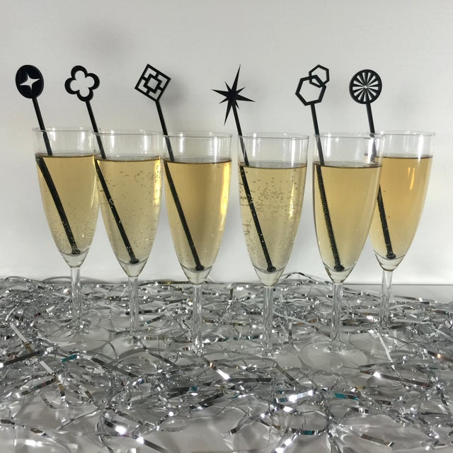 Geometric Gold Glitter Drink Stirrers - Set of 6 - Image 4 of 4
