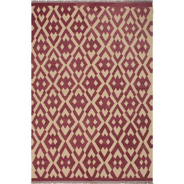 Red Modern Abstract Kilim Anjelica Hand-Woven Wool Rug -5′11″ × 8′4″ For Sale - Image 8 of 8