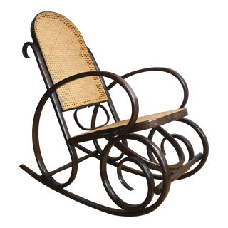 1970s Vintage Thonet Style Bentwood Rocking Chair For Sale