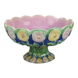 Antique Majolica Pottery Floral Compote, KLW For Sale