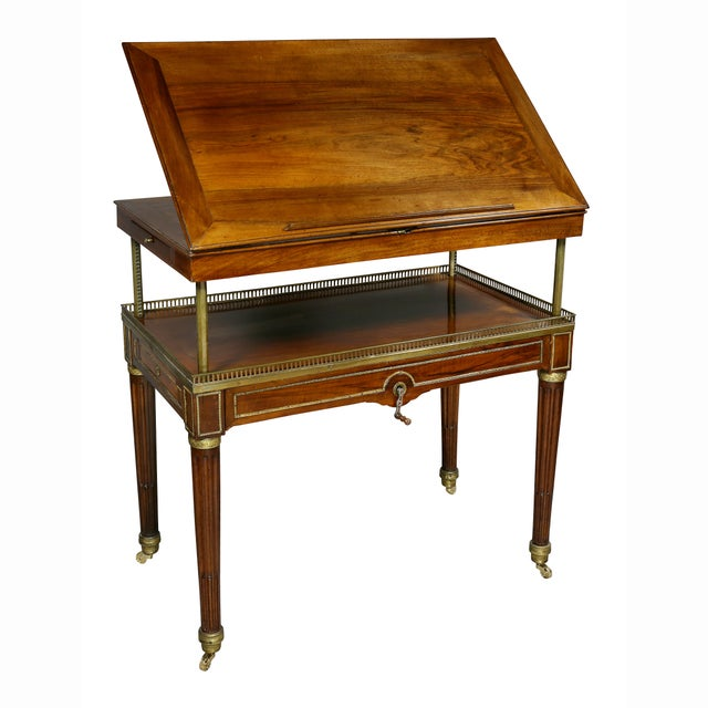 Gold Louis XVI Walnut Architects Table a La Tronchin For Sale - Image 8 of 13